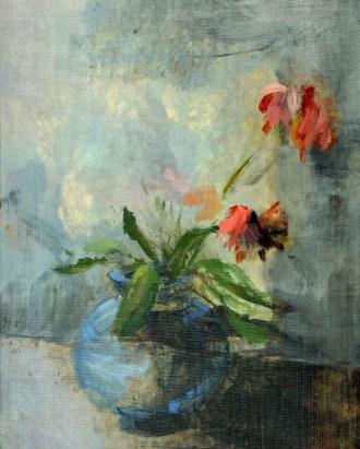 Blue Vase Flowers Clouds | oil / acrylic paint on canvas | +-26x20 cm | Kunstuitleen Alkmaar