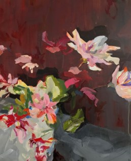 Flowers Red Pink  Acrylic on wooden panel  60x70 cm