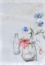 Flowers Sail Bottle |Acrylic on sailcloth | 88x137 cm | Steel frame top&bottom
