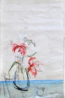Flower Sail Chair  Acrylic on sailcloth   88x137 cm   Steel frame top&bottom