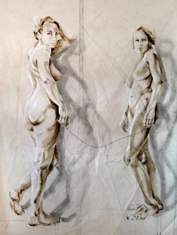 Dos Amigas  Acrylic on sailcloth   180x225 cm   white wooden frame top&bottom