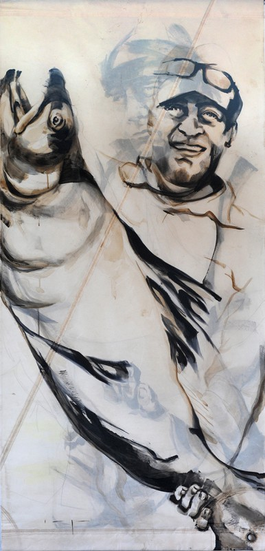 Fishermen Double sided 02b | Acrylic on sailcloth | 90x187 cm