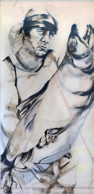 Fishermen Double sided 02a | Acrylic on sailcloth | 90x187 cm