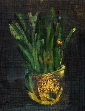 Plant in Golden Helmet | oil / acrylic paint on reproduction canvas | +-26x20 cm