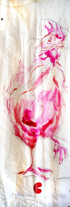 Pink Chicken | Acrylic on Sailcloth | +-90 x 220 cm