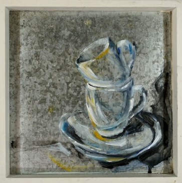 Cups and saucers | oilpaint on tray