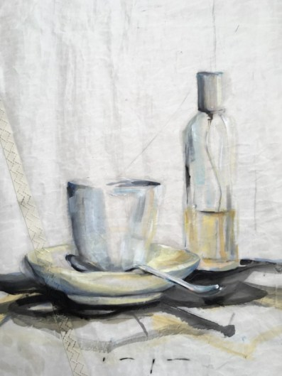 Still life | Spray bottle, cup and spoon | oil paint on sail | 50x70 cm