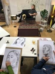 Model portrait drawing   portret modeltekenen   Lois Lindeboom