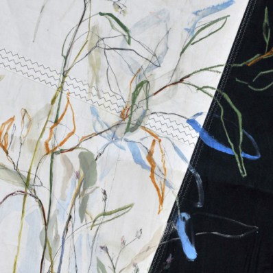 Flowers Sail Grasses | Acrylic on sailcloth | 120 x80(?)cm | Steel frame top&bottom