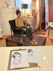 portrettekenen   model tekenen Schoorl, model Chantal juli 2018