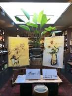 Paintings flowers on wood in Wijnkoperij de Gouden Ton Bergen NL