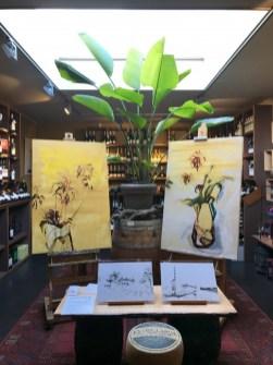 Schilderijen Inkt tekeningen Kunst10daagse Bergen Paintings flowers on wood in Wijnkoperij de Gouden Ton Bergen NL