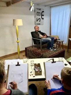 Modeltekenen Portrettekenen Schoorl Alkmaar, Model Willem Schotten   2019