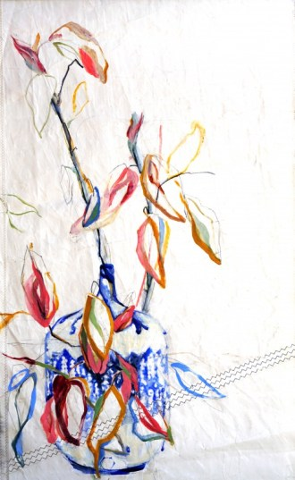 Branche in Blue Vase Nicole Donkers | 90x120 cm