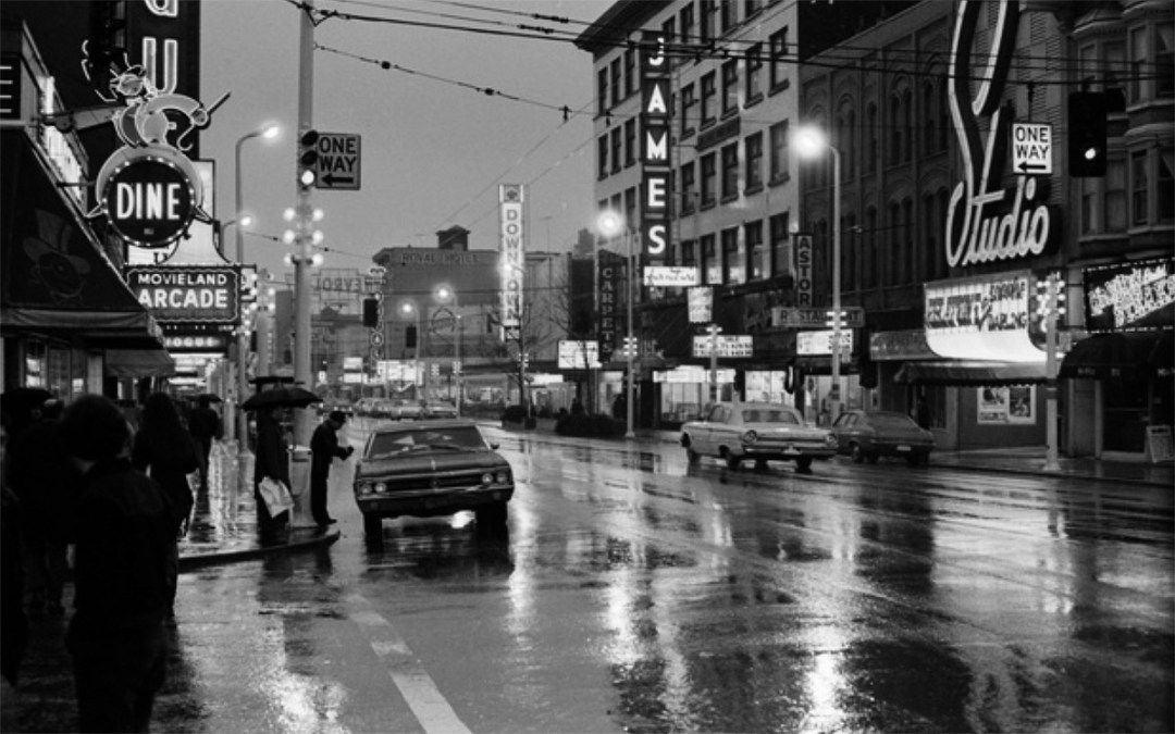 Traffic on Granville Street in the theatre district, 1970s. VPL Collection