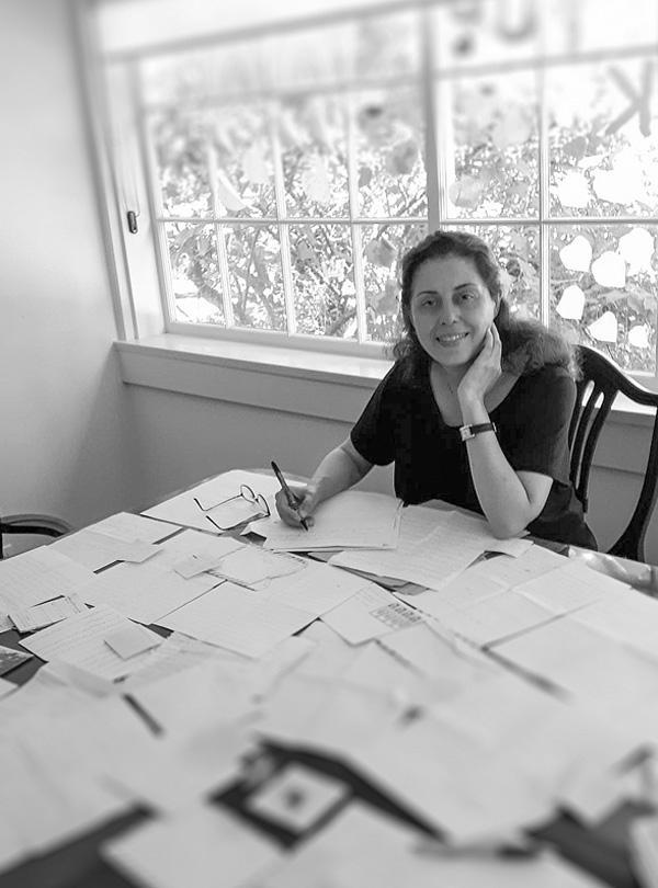 Author Maria Saba during her residency at Historic Kogawa House