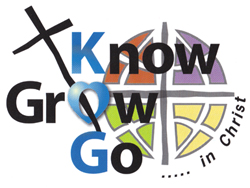 KOG logo...Know, Grow and Go in Christ with ELCA logo in background