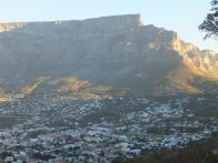 Late afternoon picture of Table Mountain and Cape Town, South Africa
