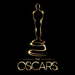 "Golden outline of Oscar statue and text ""The Oscars"""