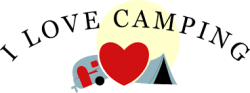 Image with I love camping words, heart, camping trailer and tent