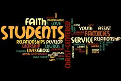 image of various words relating to youth ministry.