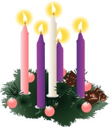 advent wreath showing three purple, one pink and one white candle
