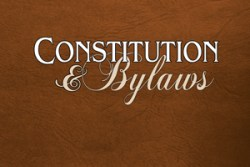 Constitution & Bylaws title on brown background