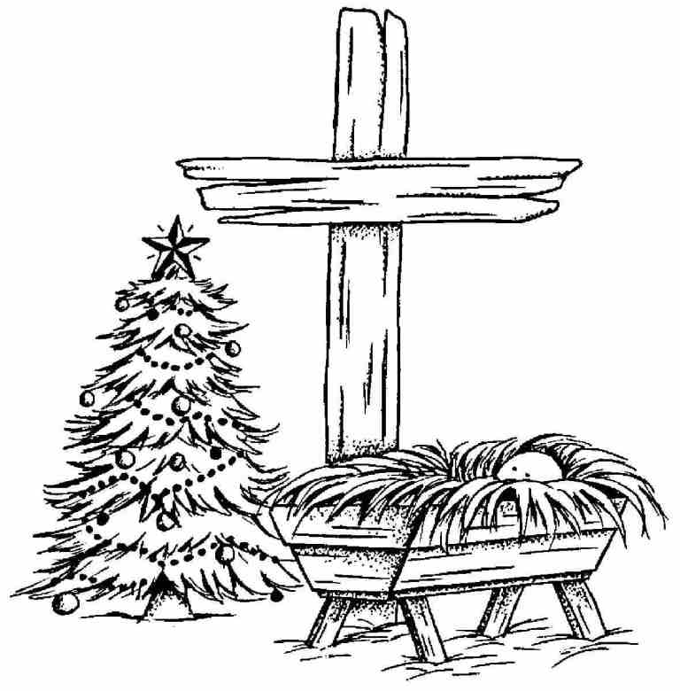 Drawing of Cross, Manger with Baby Jesus, and Christmas Tree