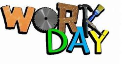 "Word ""Work Day"" made of a circular saw blade for the ""O"", the ""R"" is made of wood, and the ""K"" is made from a hammer, paint brush, and a screwdriver."