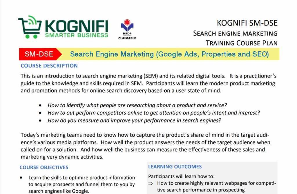 Kursus latihan Kognifi SEO Malaysia