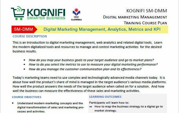 Kognifi Digital Marketing Course Training Plan