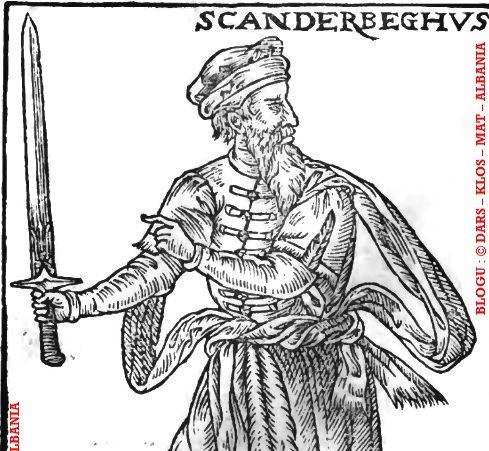 Portreti i rrallë i Skënderbeut me shpatë në dorë dhe
