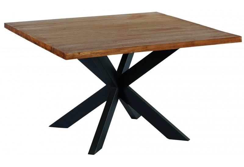 table carree en teck metal tulua casita