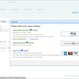 Select your payment method. POLi and Account2Account both allow you to use Internet Banking.