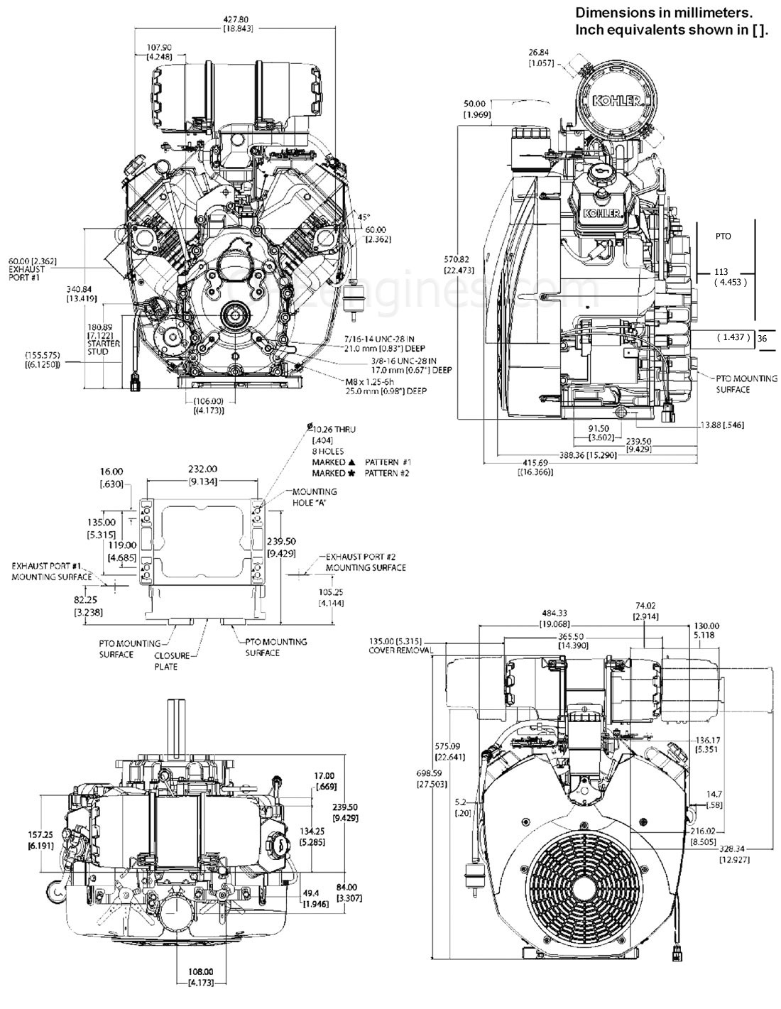 CH940 CH960 CH980 CH1000 DRAWINGS : Kohler Engines and