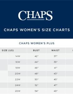 Chaps size chart also plus sherpa vest rh kohls