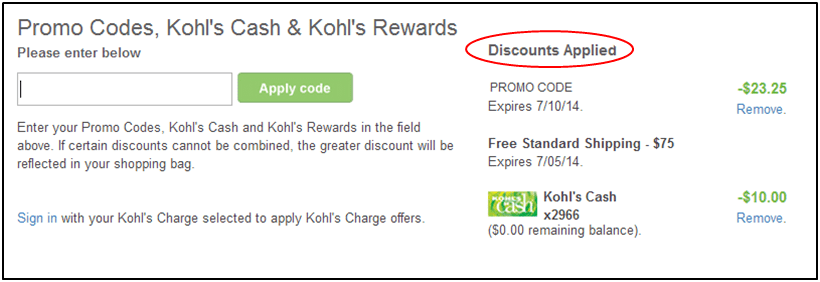 entering promo codes kohl