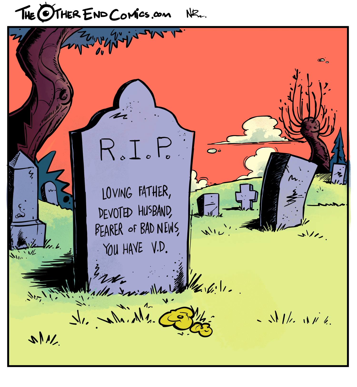 There's no name on that tombstone. This comic is so fake.