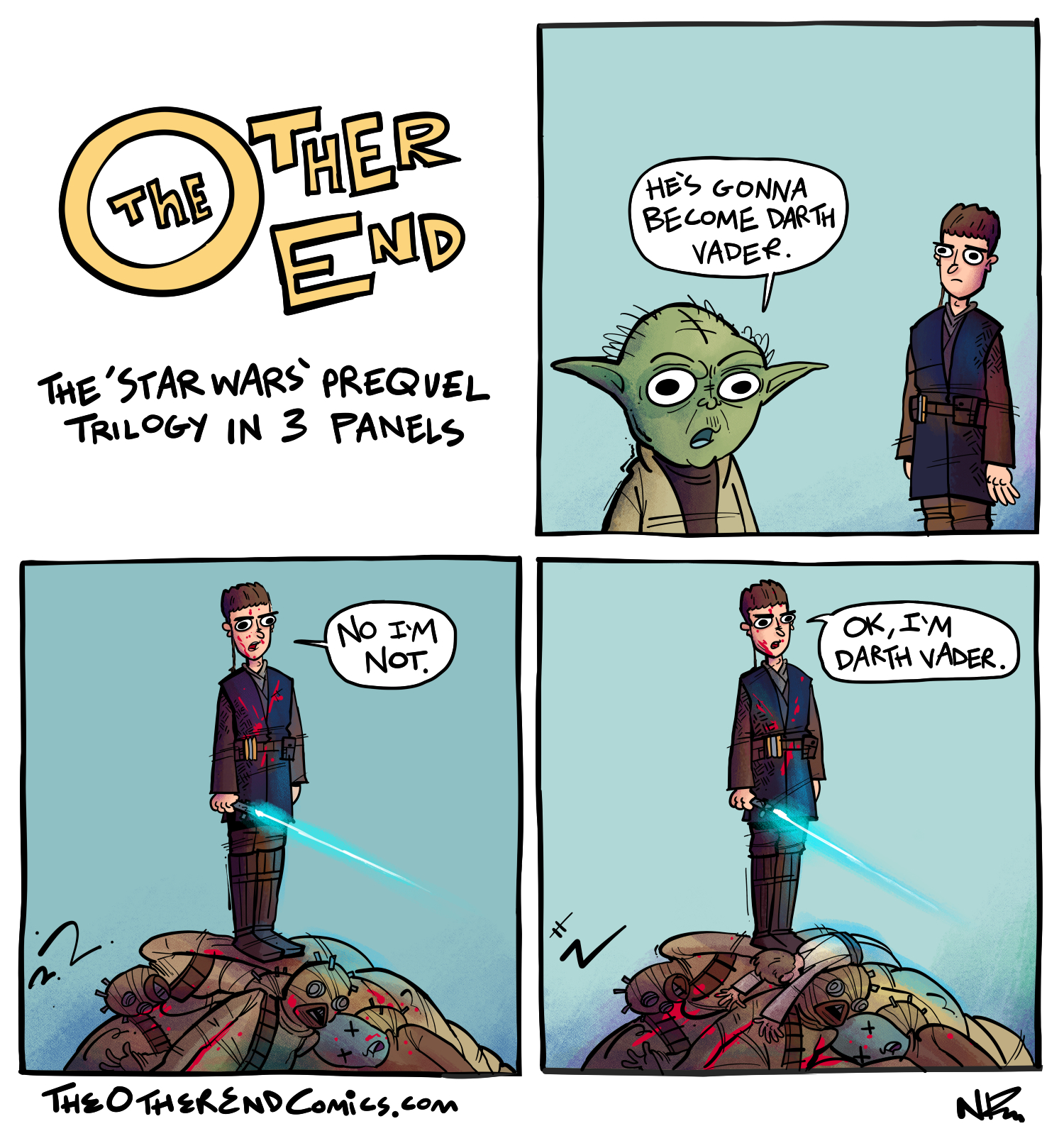 Yoda isn't doing cgi flips in every panel. This comic is so fake