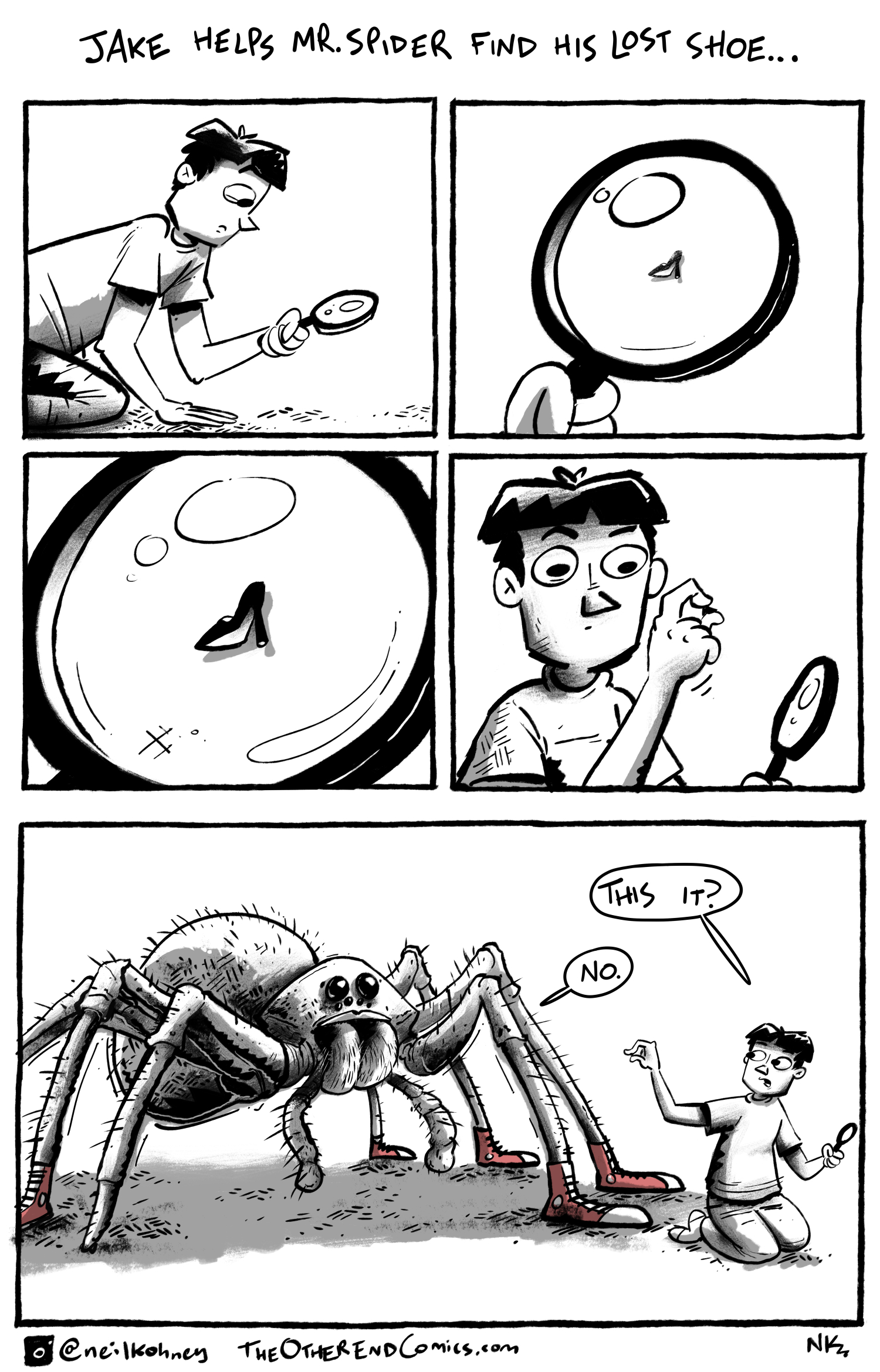 The spider should be wearing slip on shoes since he can't tie the laces. This comic is so fake