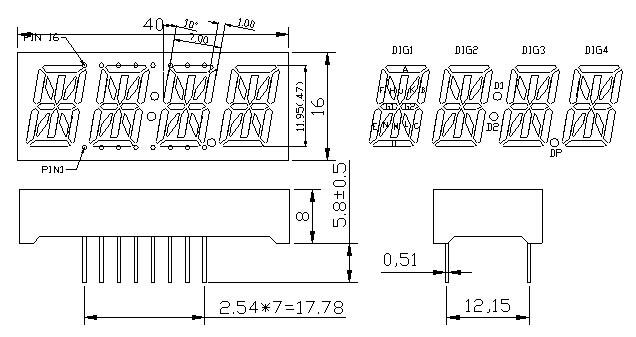 KHN40474CUR1D-3C 4 digit 14 segment LED numeric display