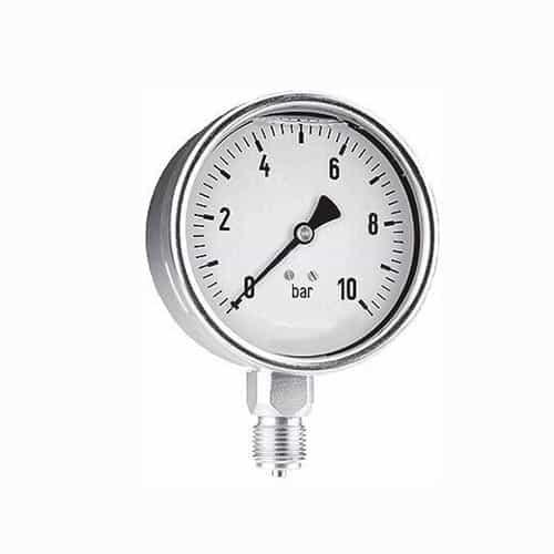 """Druckmanometer in Edelstahl mit Glyzerin 1/4"""" unten"""