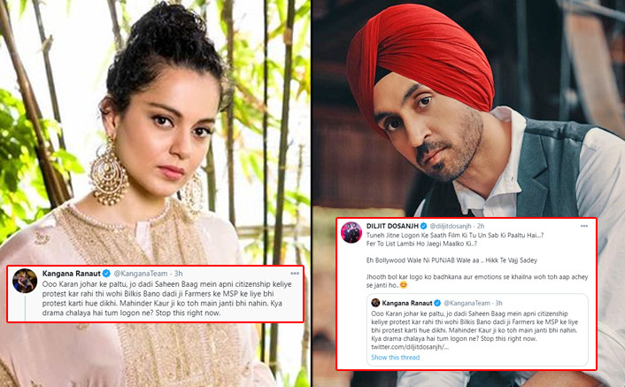 Diljit Dosanjh Brutally Dissects Kangana Ranaut On Twitter Over Her  Comments On 'Shaheen Bagh' Dadi