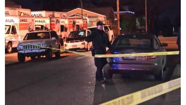 Portland Police investigated a shooting at a U-Haul location in Southeast Portland on Jan. 3, 2018. (KOIN)
