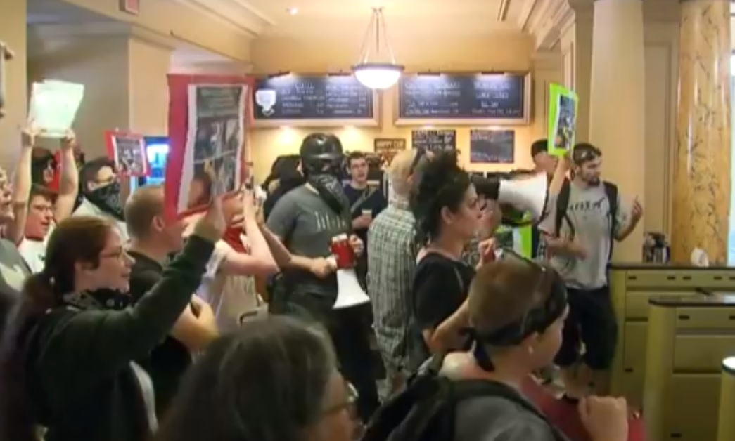 A group at City Hall protested police brutality, August 8 2018. (KOIN)
