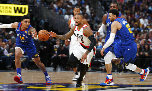 Trail Blazers Nuggets Basketball_1554532096419