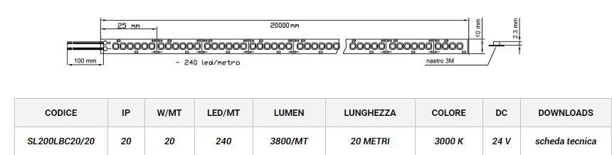 STRIP LED 2835 SL200 20 Metri LEDCO Italia
