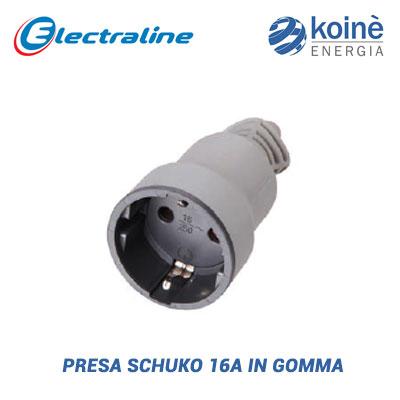 Presa schuko 16A in gomma electraline