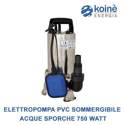 Elettropompa pvc sommergibile-acque sporche inox 750 watt