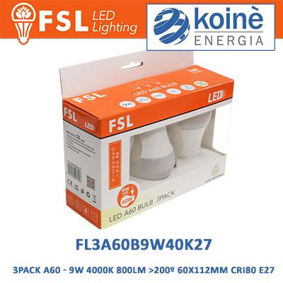 FL3A60B9W40K27 fsl lampadine a60 9w 4000k